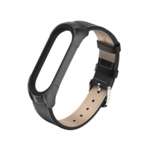 Luxurious leather bracelet for Mi Band 4/5 - black