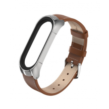 Luxurious leather bracelet for Mi Band 4/5/6 - brown